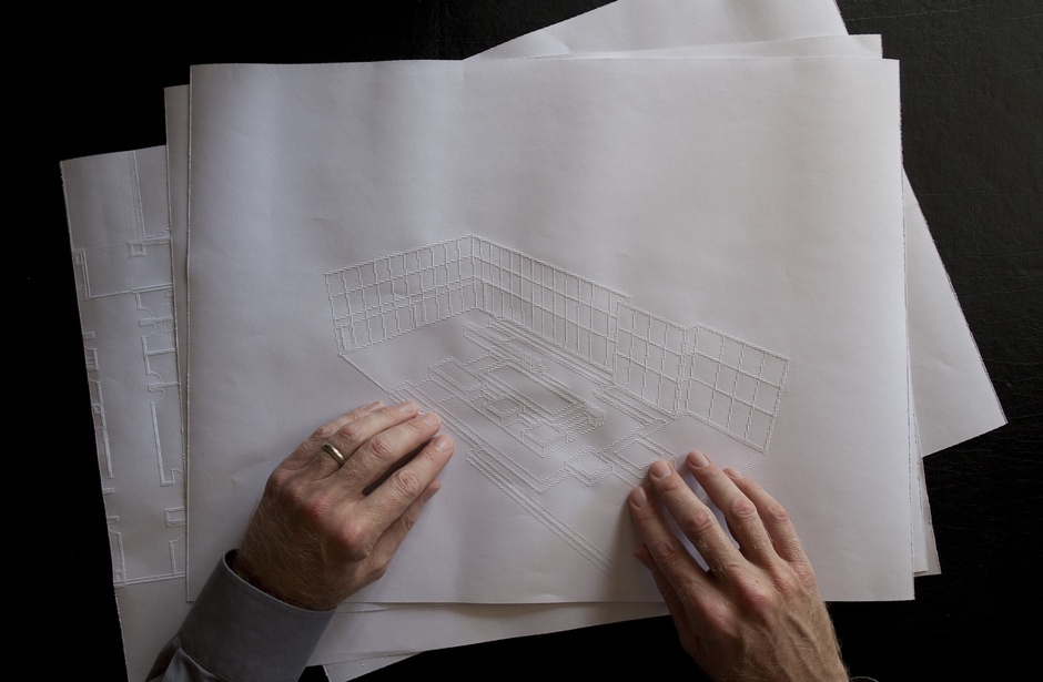 """I read tactile drawings in plan, elevation, section and—in very rare cases—in three-dimensional form,"" says Downey. ""When exploring this drawing, an axonometric image of a courtyard at the VA Blind Rehabilitation Center in Palo Alto, Dr. Miele said to me that 'You must be the only blind dude in the world that can read this drawing,' which is merely a comment on my unique coincidence of extensive graphic training and my new blind experience. This drawing was fun to explore but not very useful."" (Fogg Studio)."